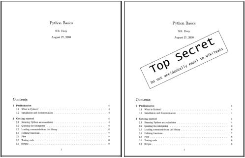 Watermarking the pdf file