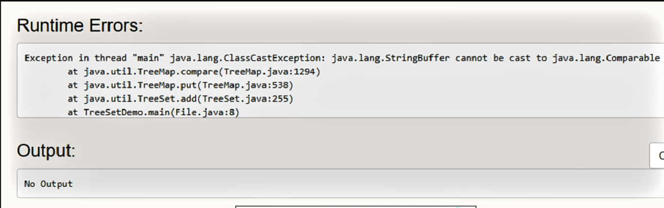 classCastException in TreeSet Java