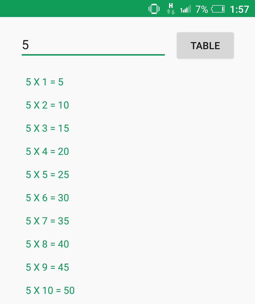 Android | Display multiplication table of a number