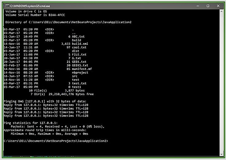 Java Program to open the command prompt and insert commands