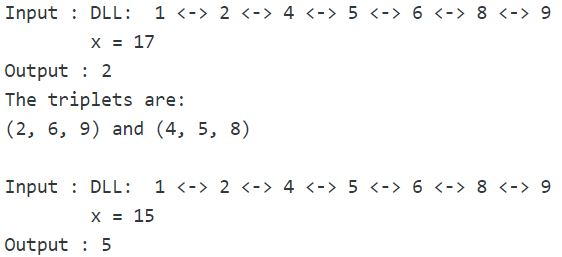Count Triplets In A Sorted Doubly Linked List Whose Sum Is Equal To A Given Value X