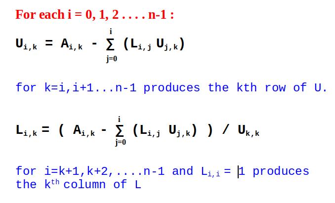 doolittle algorithm lu decomposition geeksforgeeks