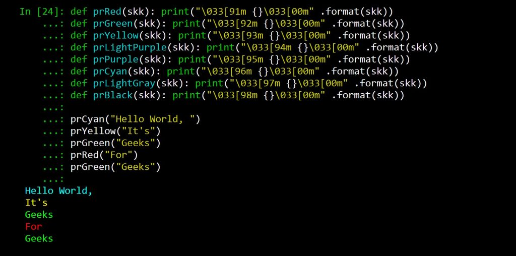 Print Colors in Python terminal - GeeksforGeeks